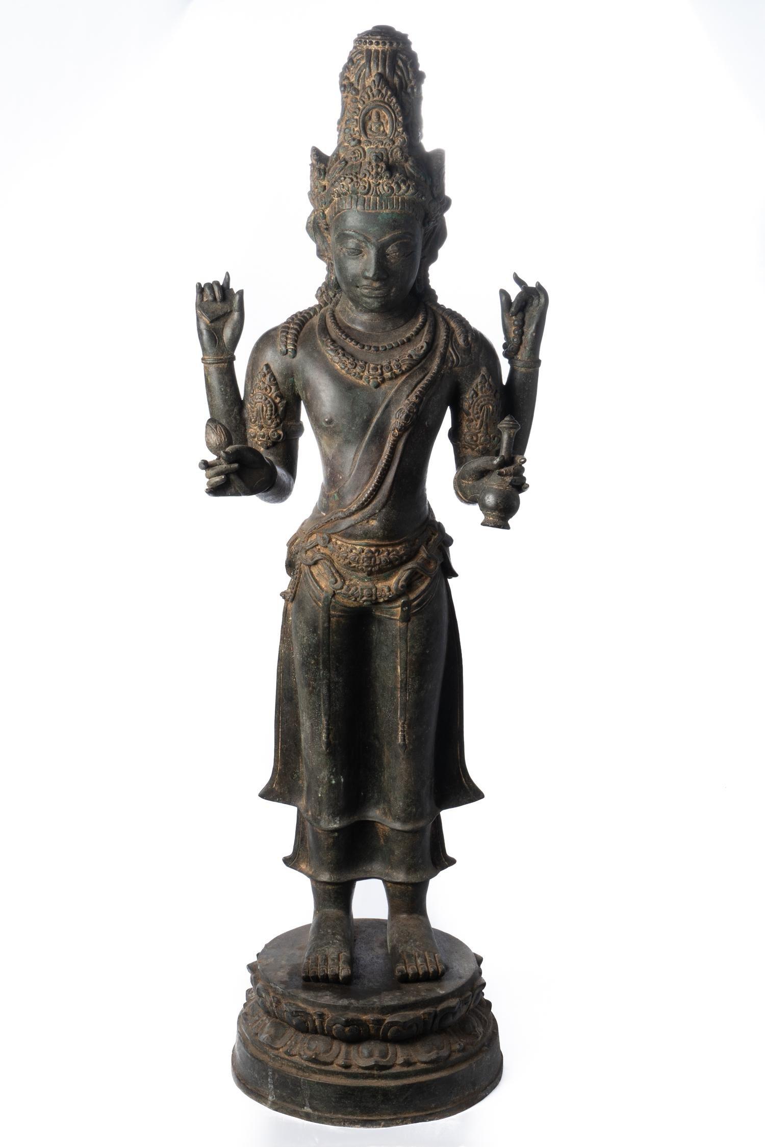 19th Century Khmer Style Standing Bronze Lakshmi