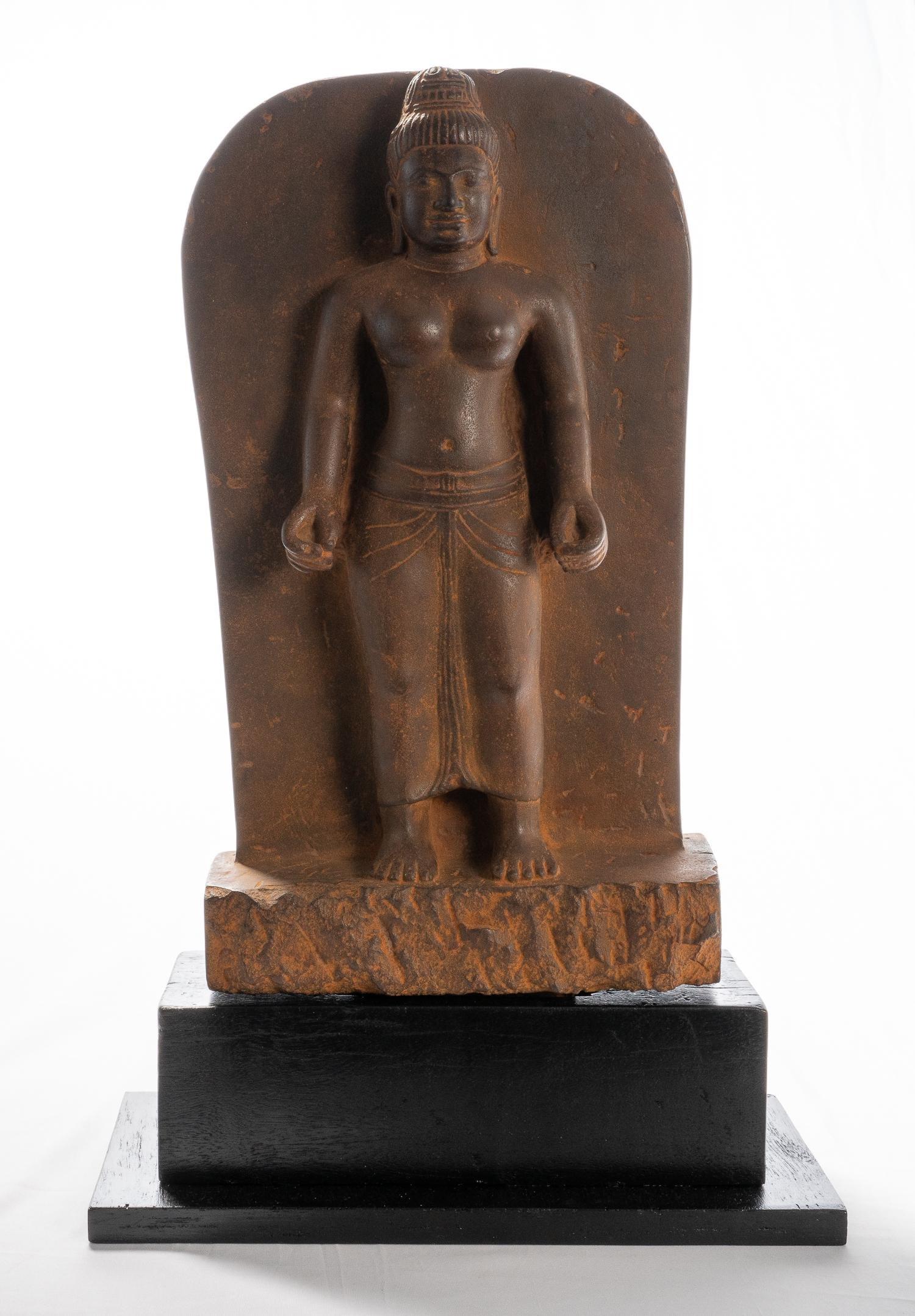 Antique Khmer Style Phnom Da Stone Stele - Lakshmi