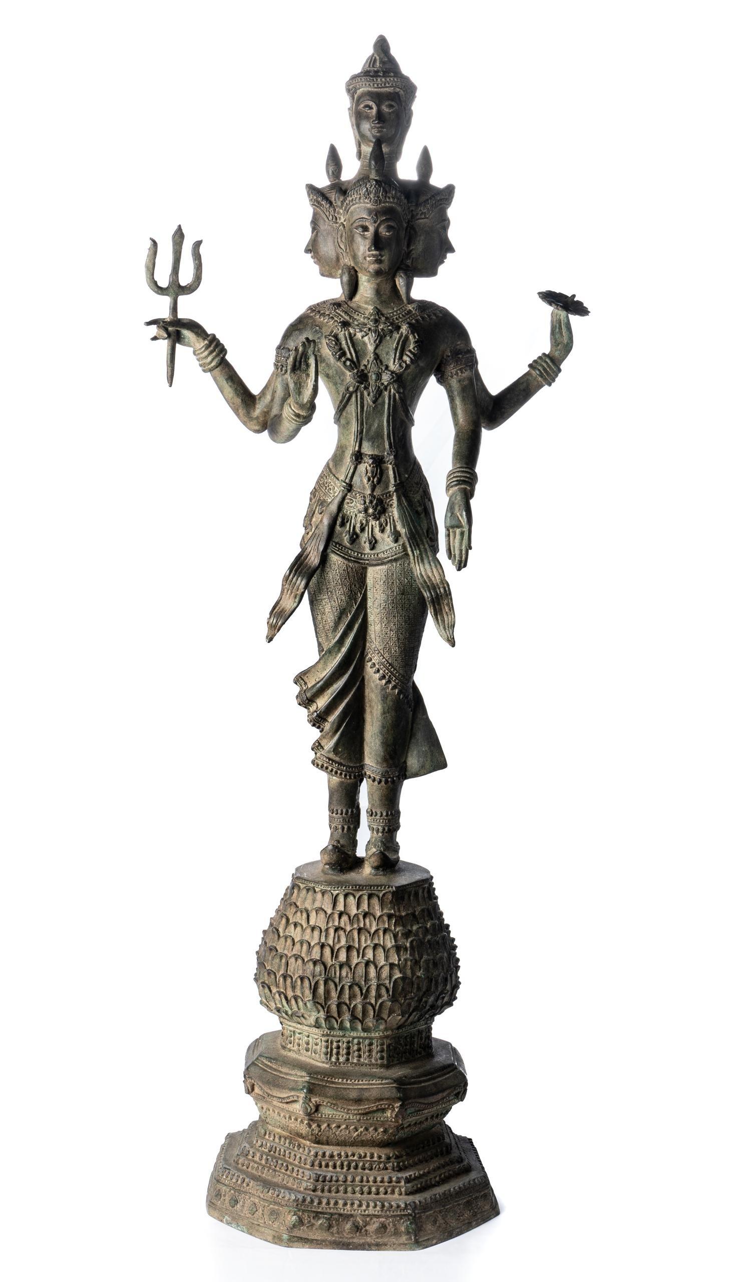 19th Century Standing Brahma Statue