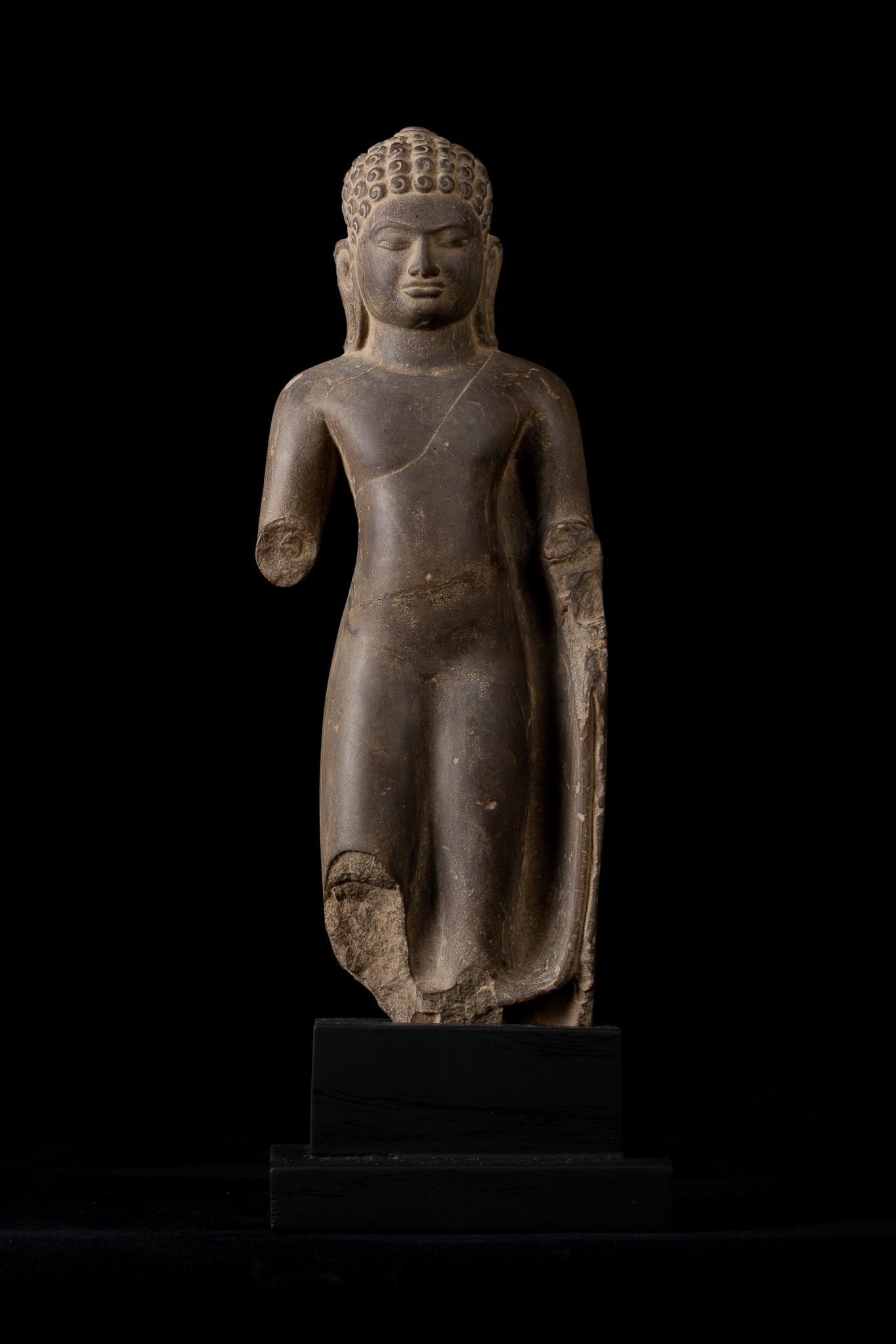 Antique Thai Stone Dvaravati Buddha