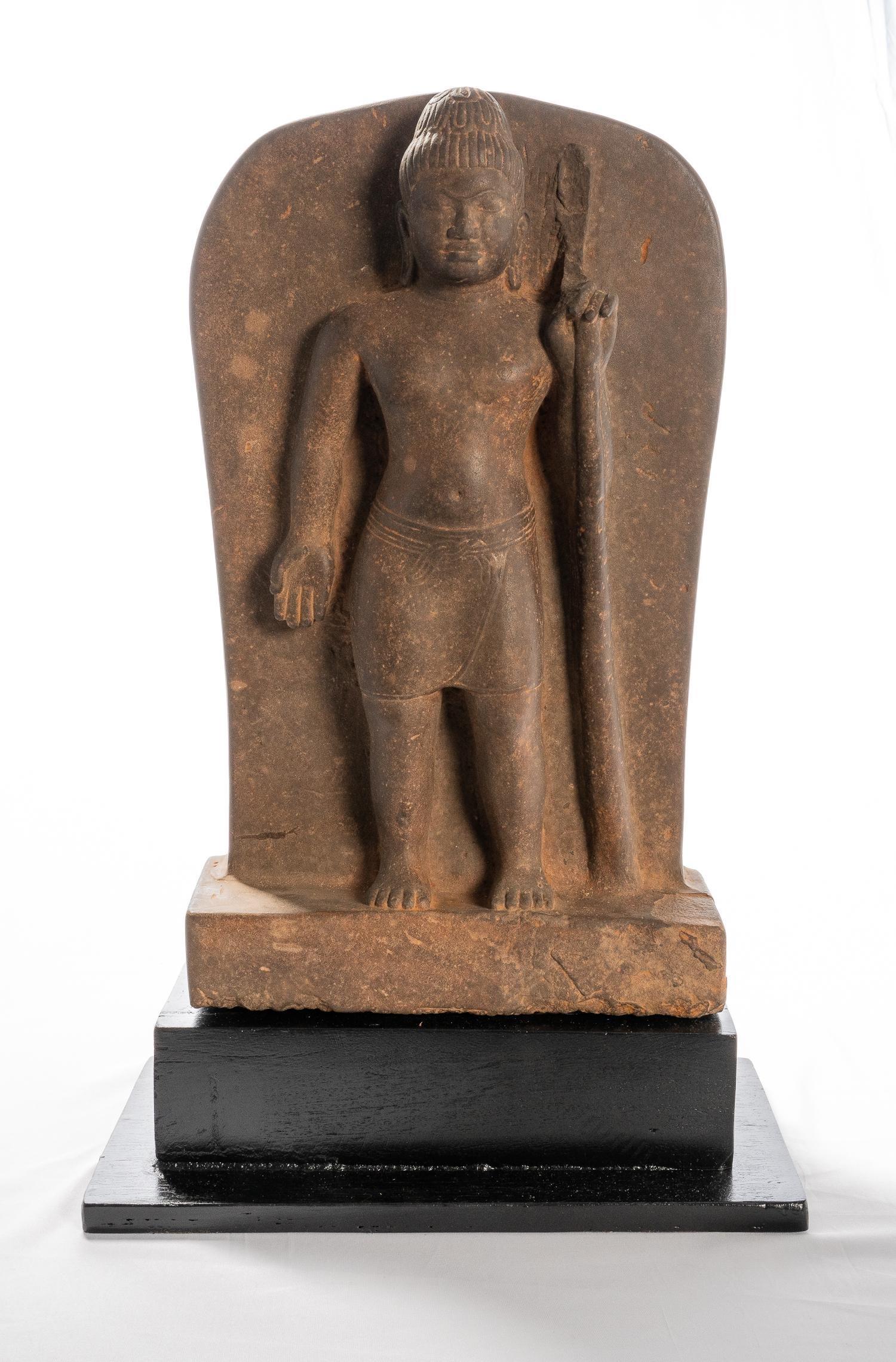 Antique Khmer Style Phnom Da Stone Stele - Vishnu