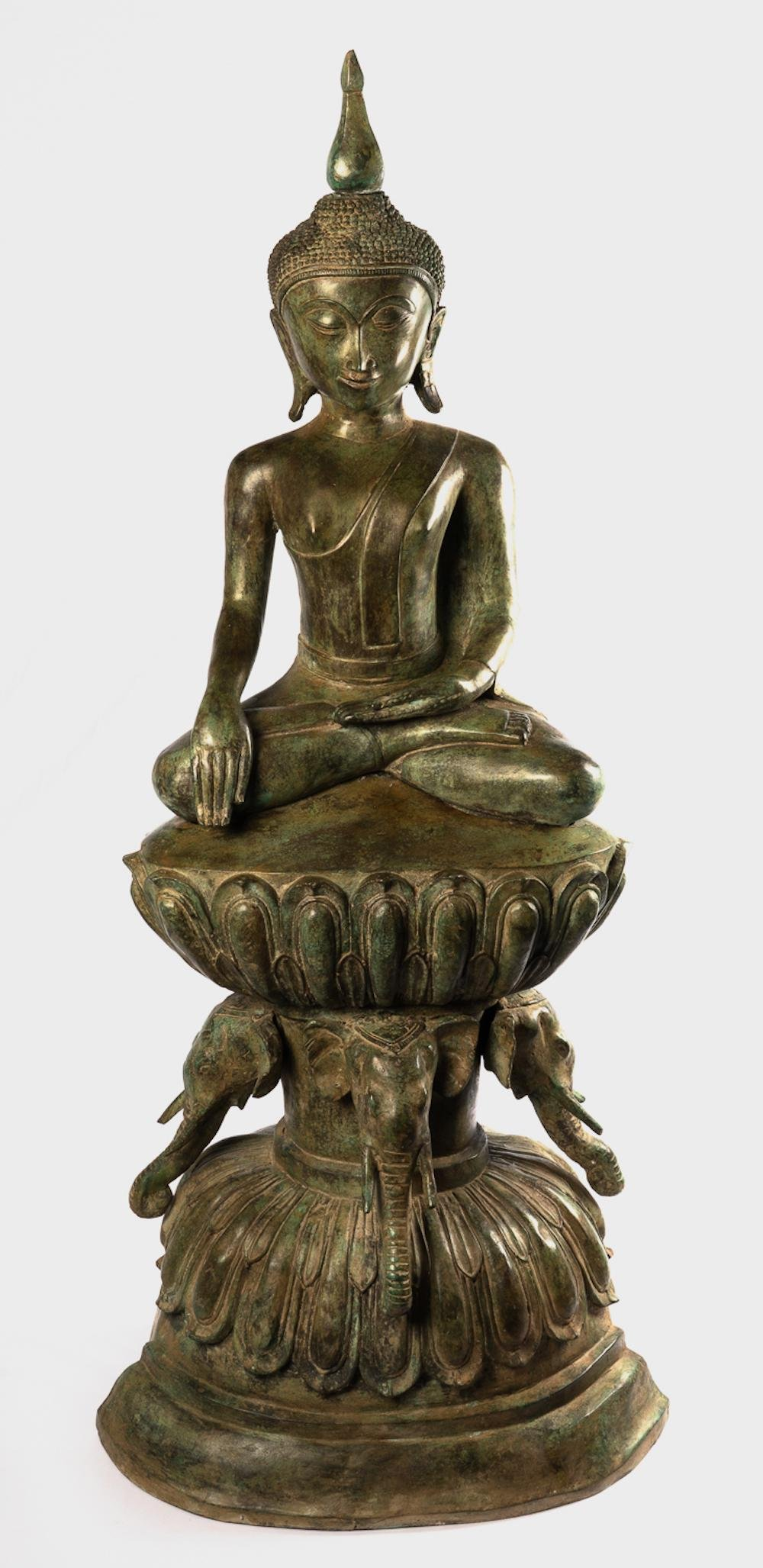 Antique Laos Style Seated Enlightenment Large Bronze