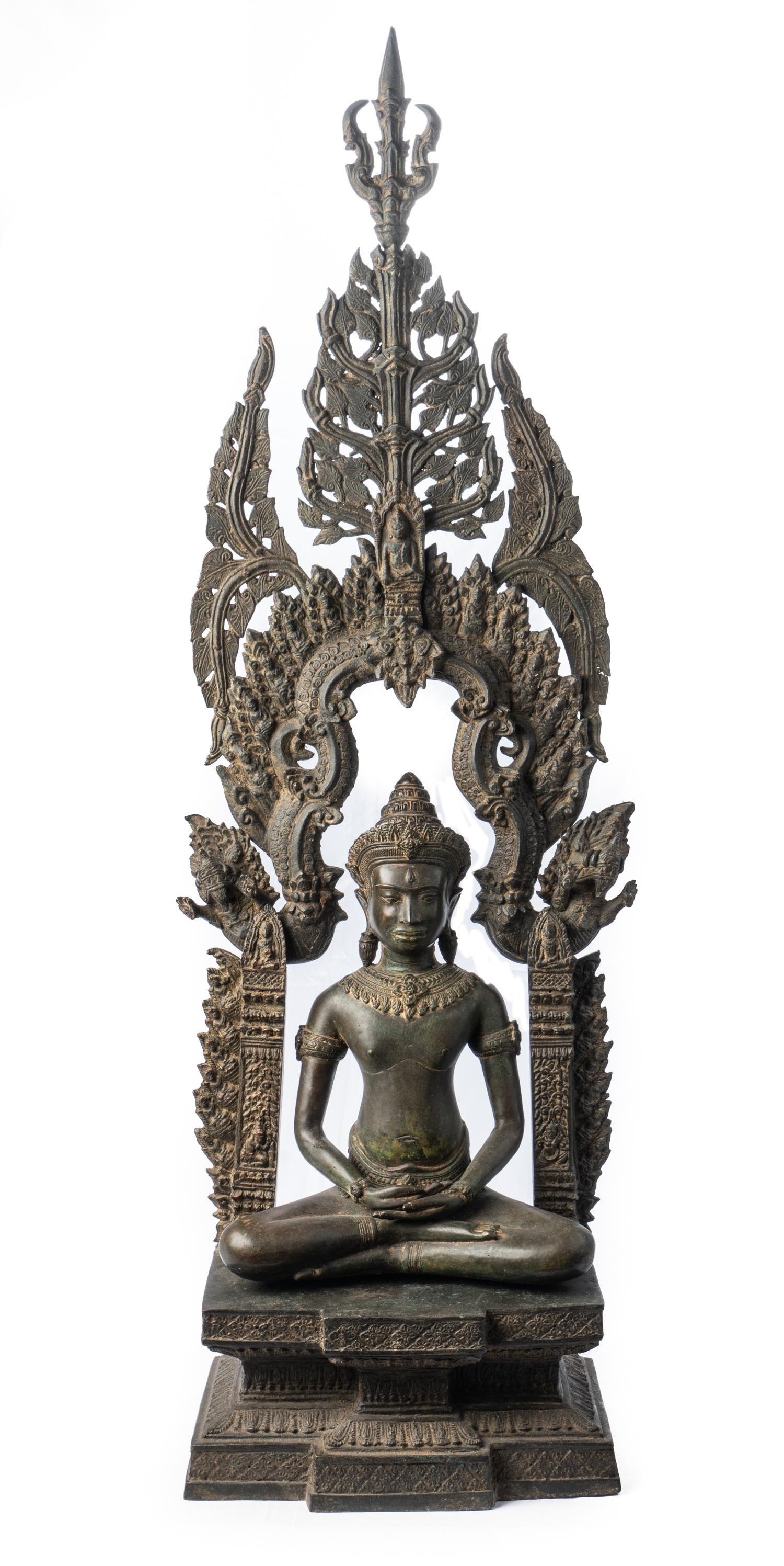 Antique Thai Style Enthroned Lopburi Meditation Buddha