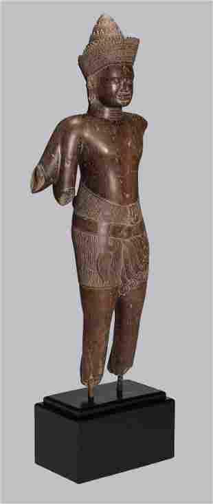 Antique Baphuon Style Khmer Stone Shiva Statue Torso -