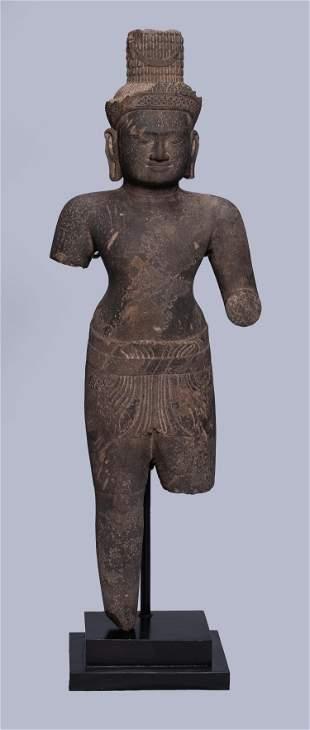 Antique Preah Ko Style Khmer Stone Shiva Statue Torso
