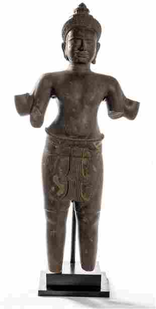 Antique Preah-Ko Style Standing Stone Shiva