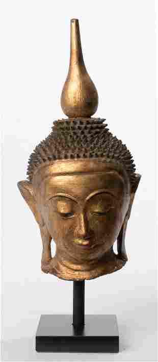 Antique 19th Century Burmese Shan Gold Lacquer Buddha