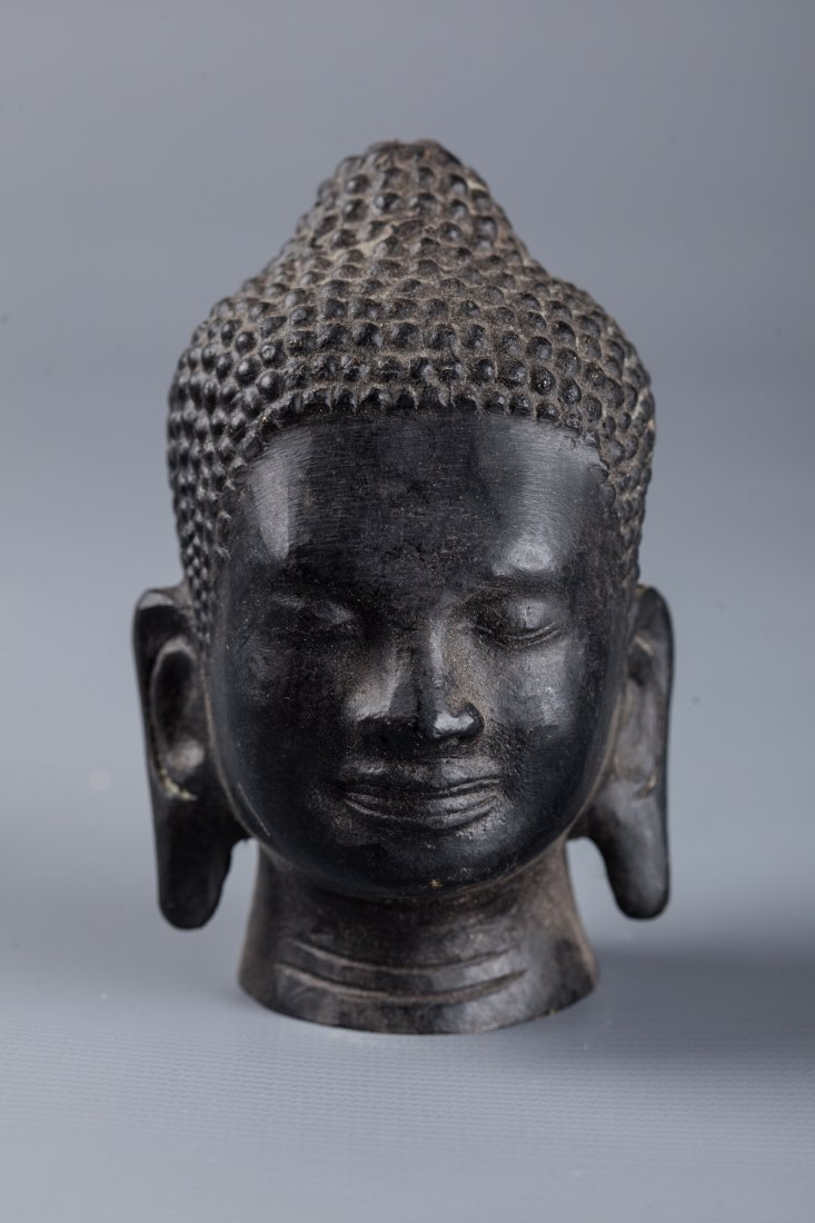 Antique Style Cambodia Black Bronze Buddha Head