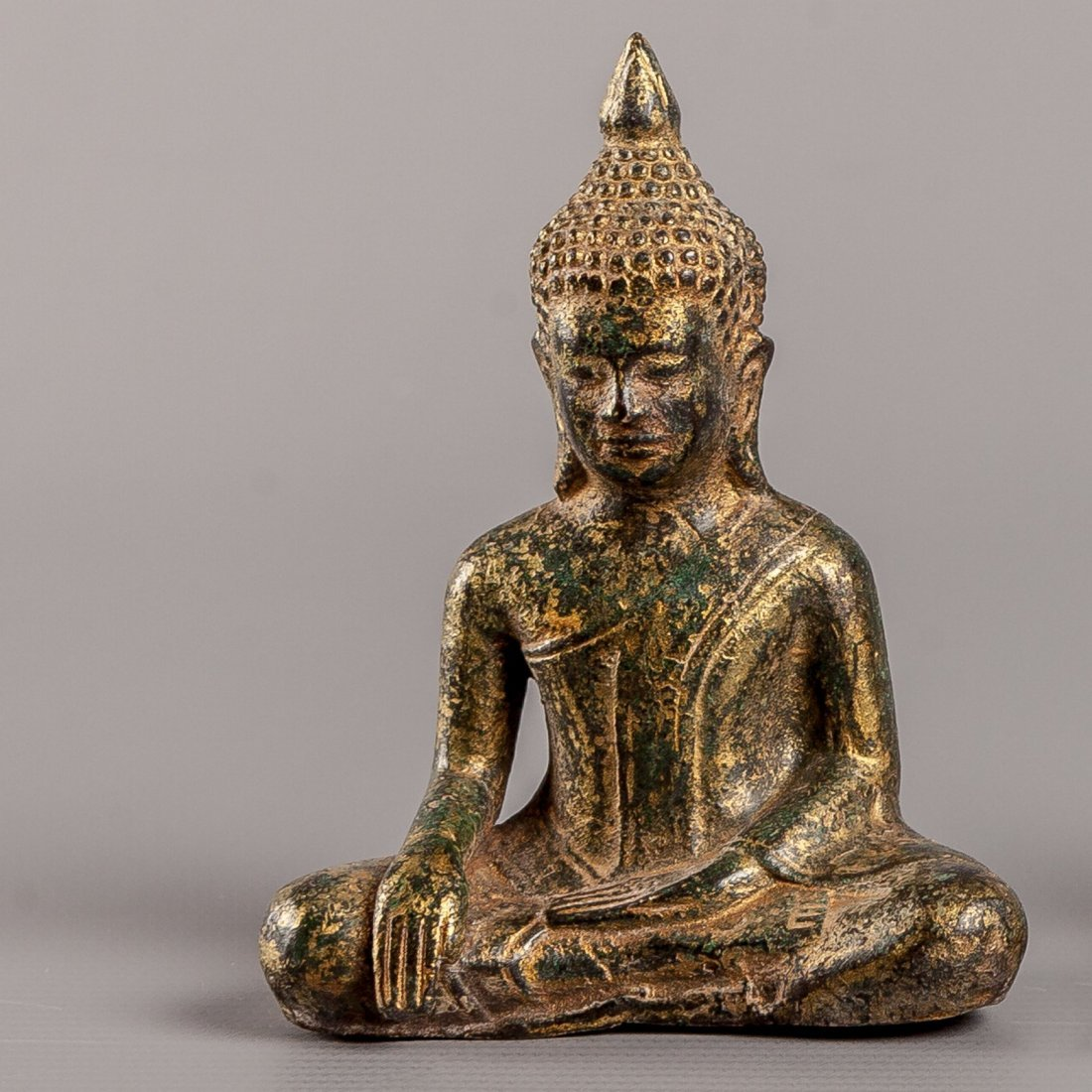 Antique Style Bronze Khmer Seated Calling Earth Buddha