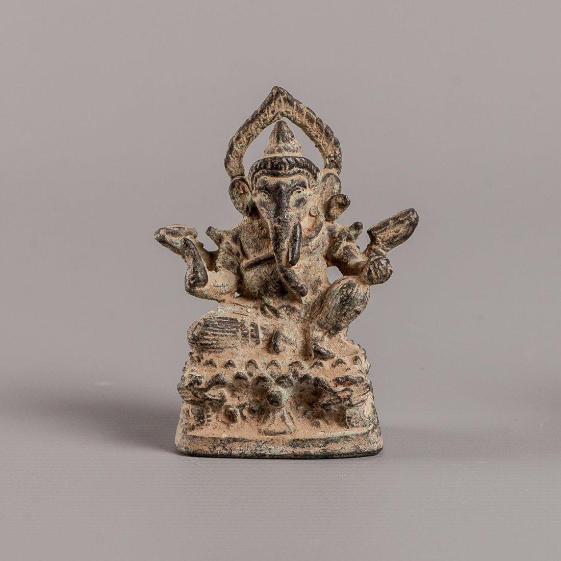 Antique Style Verdigris Cambodia Bronze Ganesh