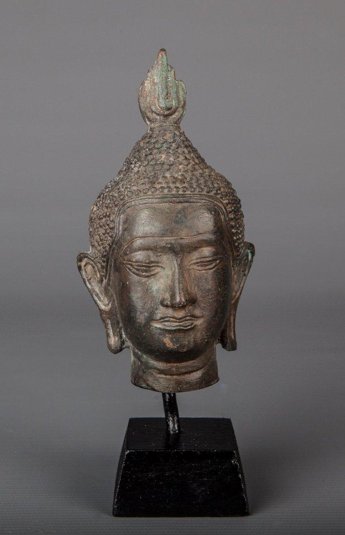 Antique Style Thai Mounted Bronze Sukhothai Buddha Head
