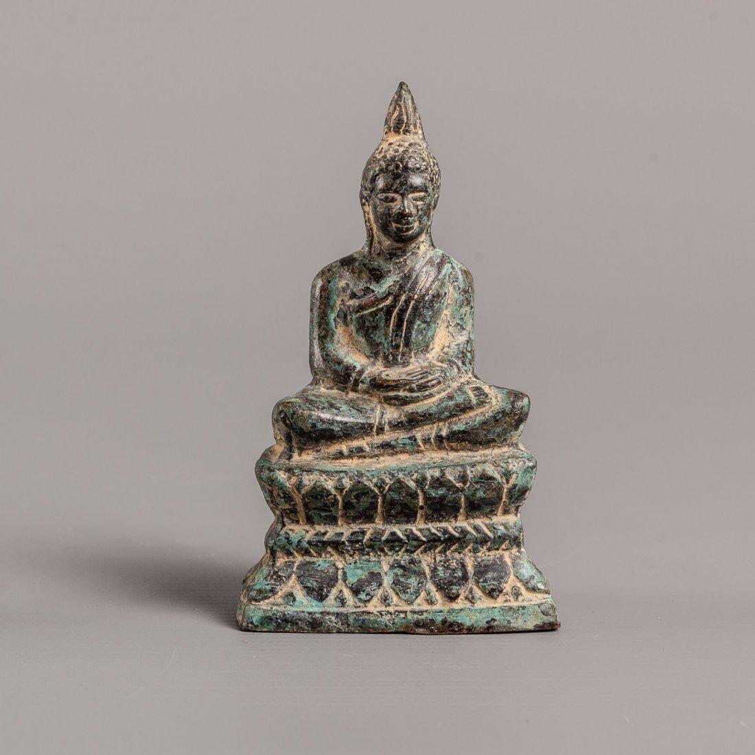 Antique Style Khmer Bronze Seated Meditating Buddha
