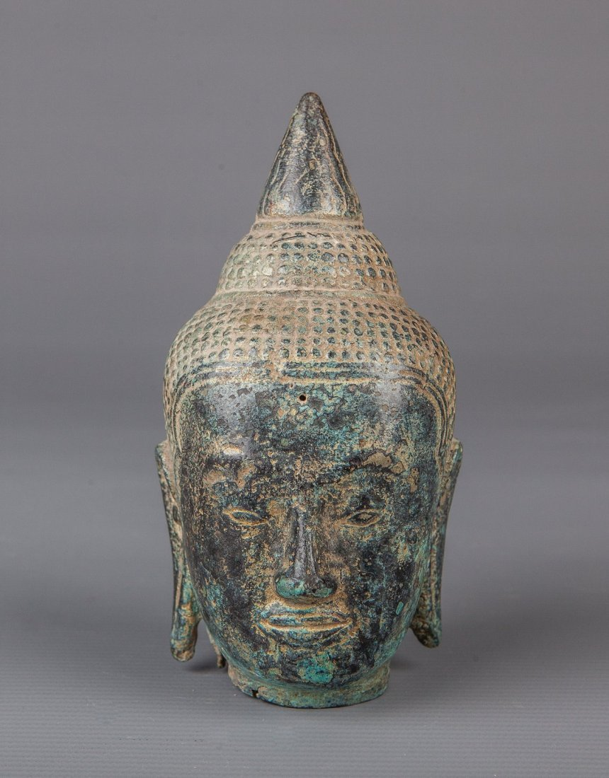 Superb Antique Style Cambodia Khmer Bronze Buddha Head