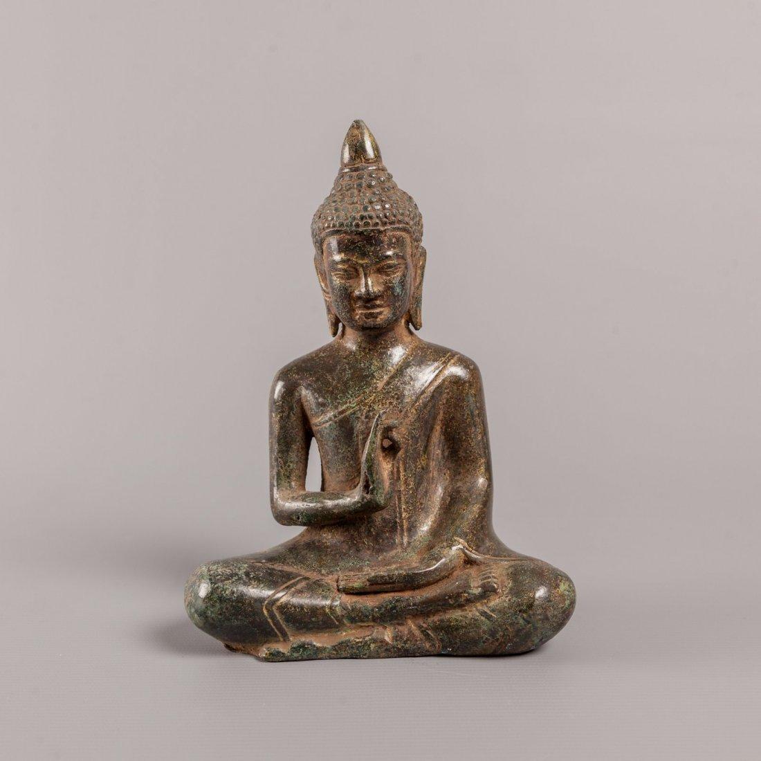 Delightful Antique Style Cambodian Bronze Seated Buddha