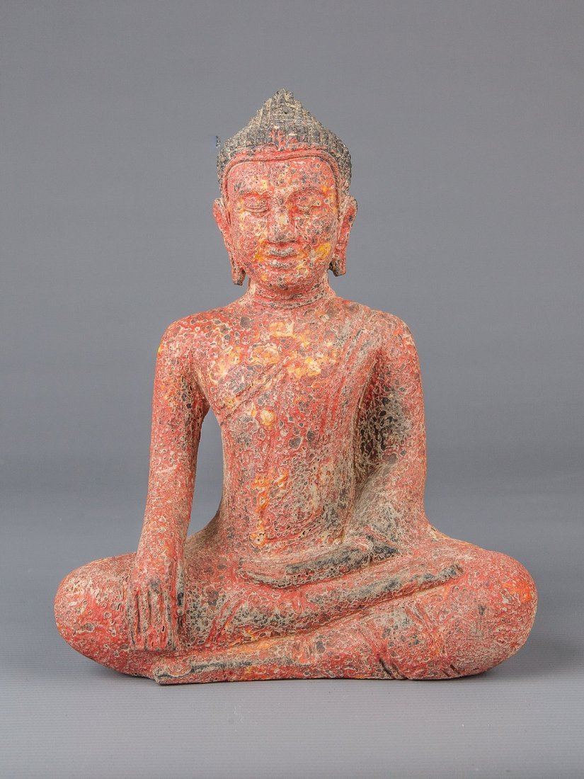 Cambodian Red Teak (Wood) Seated Buddha