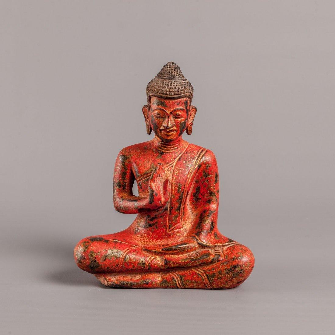Antique Style Seated Cambodia Teak Wood Buddha