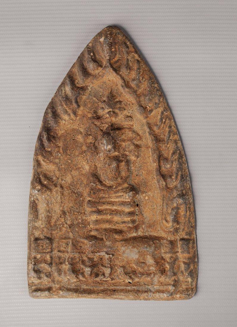 Antique Thai Buddhist Temple Panel Seated Buddha