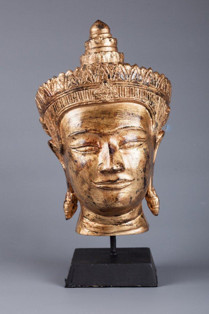 Antique Style Gold Thai Bronze Mounted Buddha