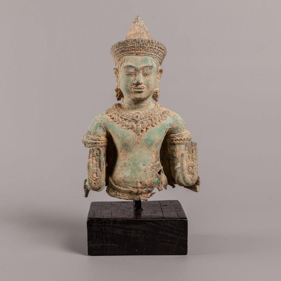 Antique Style Standing Cambodia Bronze Buddha