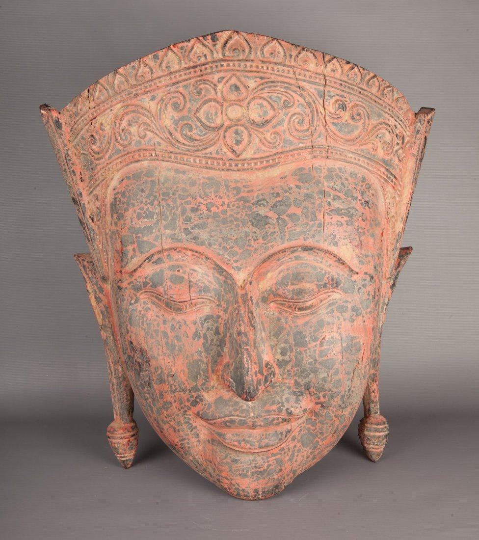 Antique Style Cambodia Teak (Wood) Buddha Head