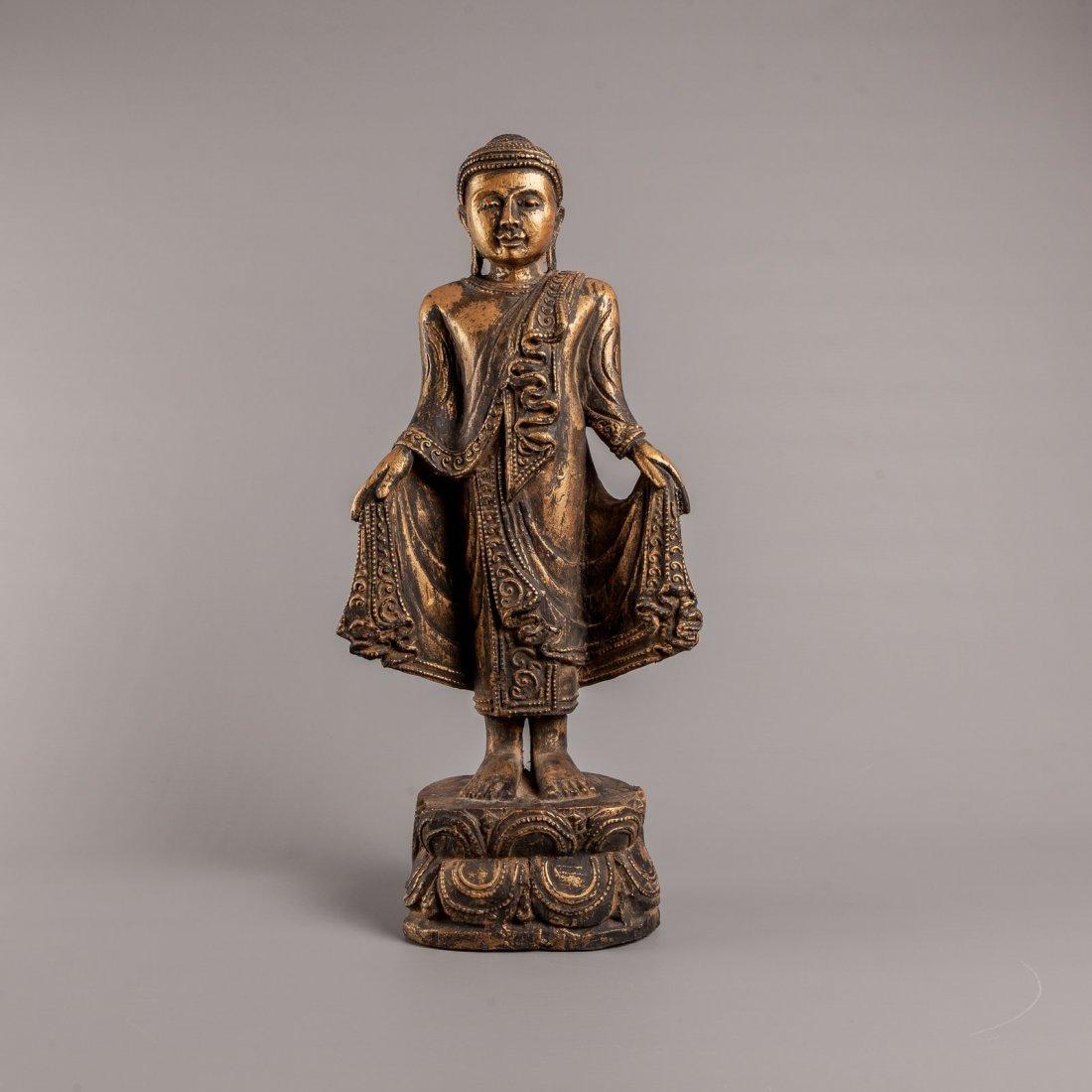 Antique 19th Century Standing Mandalay Style Buddha