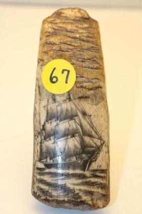 fossilized bone engraved