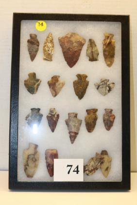 frame of (19)  flint ridge arrowheads