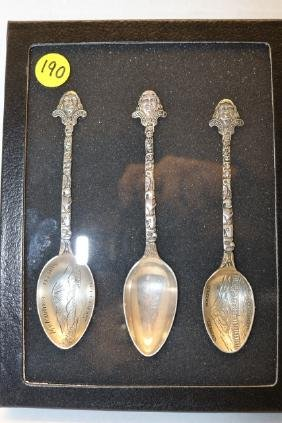 3 Sterling silver collecter spoons