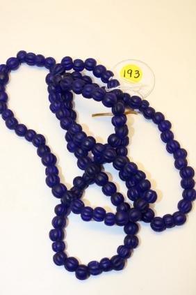 strand of cobalt indented trade beads
