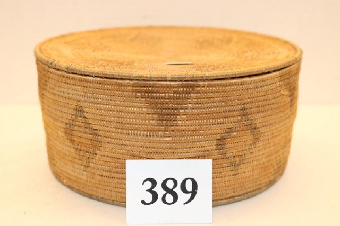 Lidded Diamond Design Alaskan Basket