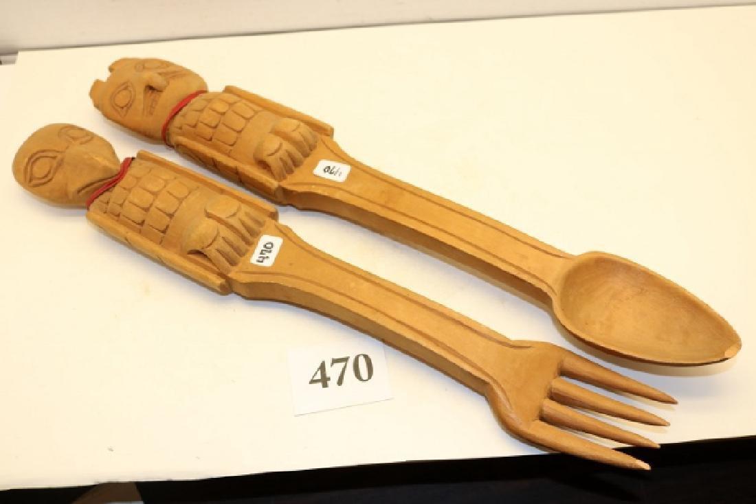 2 Wood North West Coast Carved Spoon-Fork