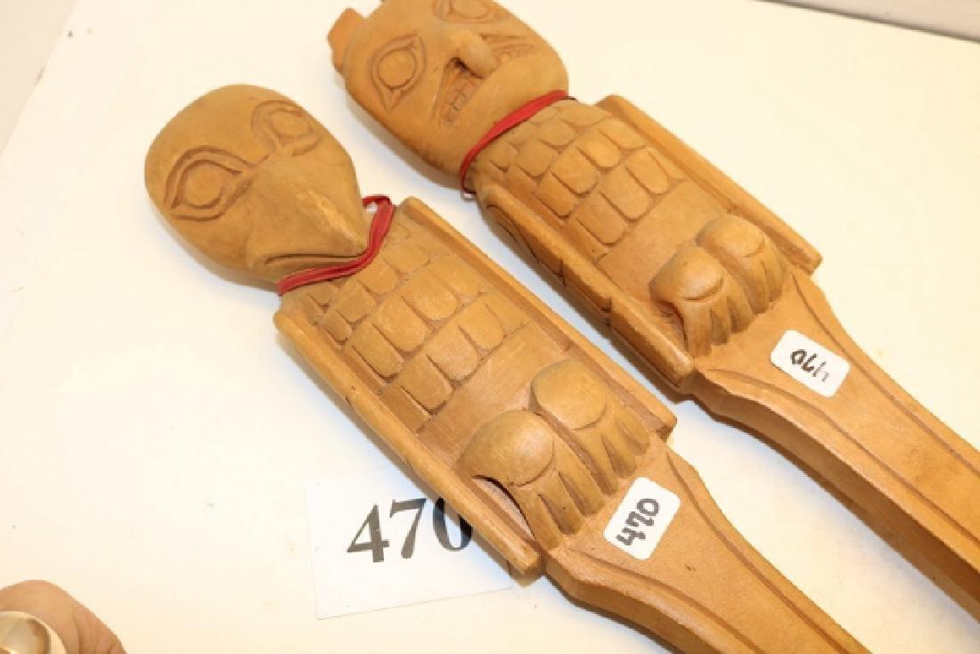 2 Wood North West Coast Carved Spoon-Fork - 2