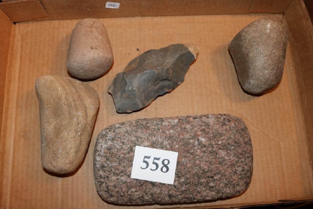 5 Stone Tools, 3 Pestles, Mano