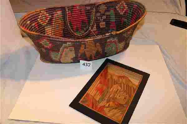 Polychrome Handled Oval Basket
