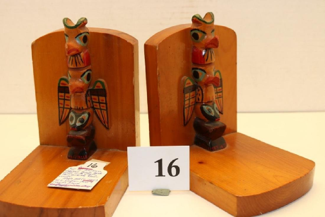 Polychrome Painted Pair Wood Bookends