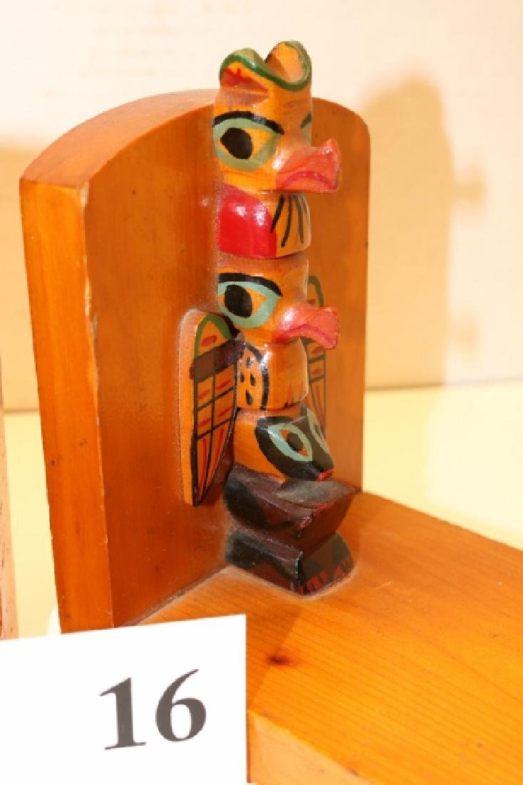 Polychrome Painted Pair Wood Bookends - 2