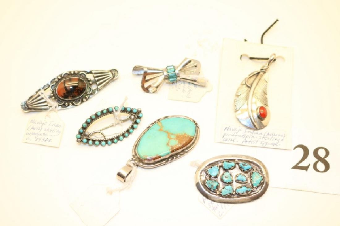 6 Navajo – Zuni Silver Pendants – Pins