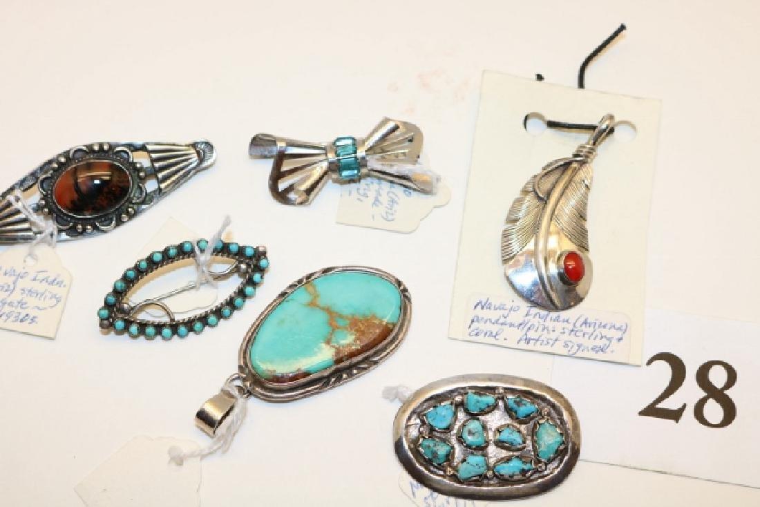 6 Navajo – Zuni Silver Pendants – Pins - 2