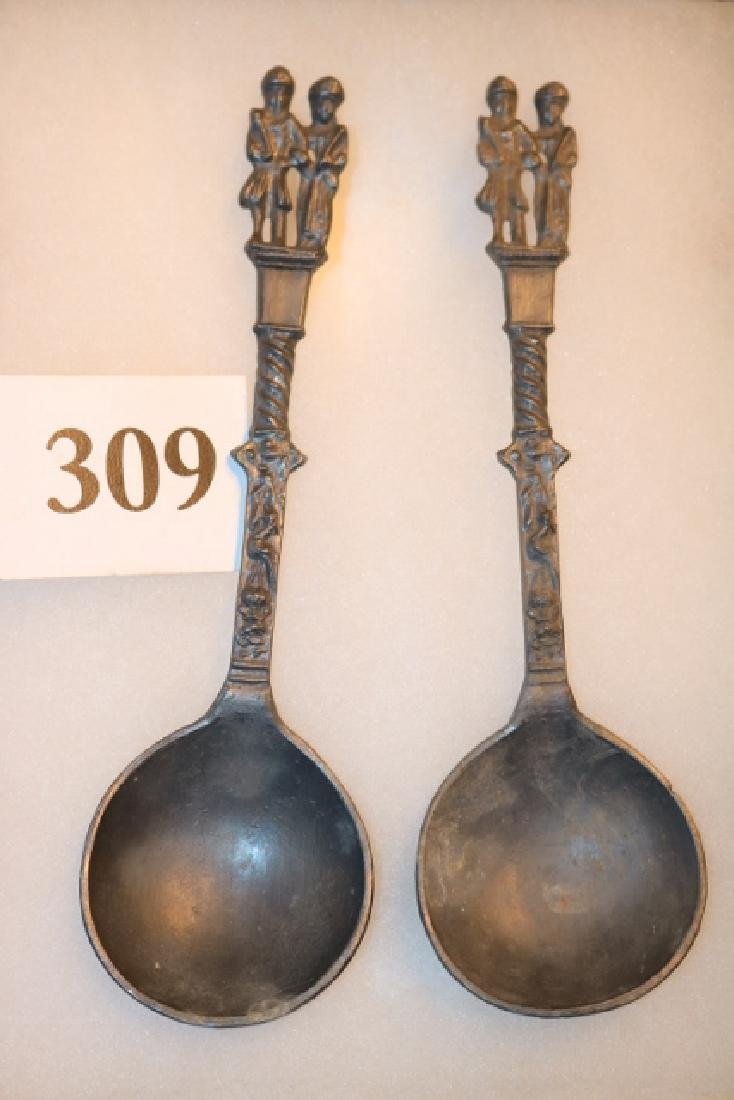 2 Pewter German Wedding Spoons
