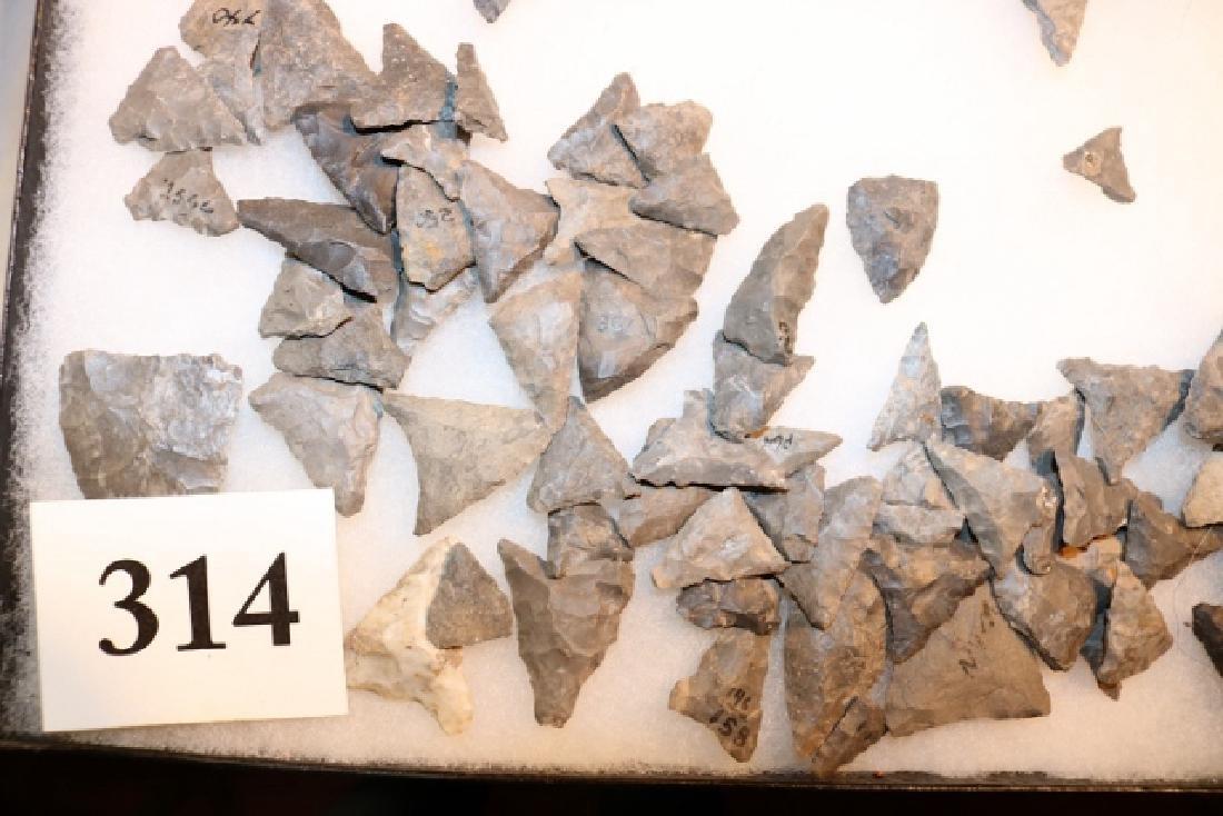 Frame with 178 Triangular Flint Points - 2