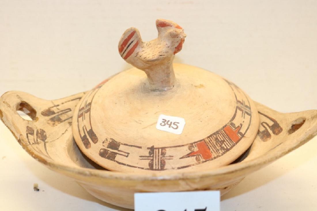 Acoma Pottery Lidded Chicken Polychrome Bowl - 2