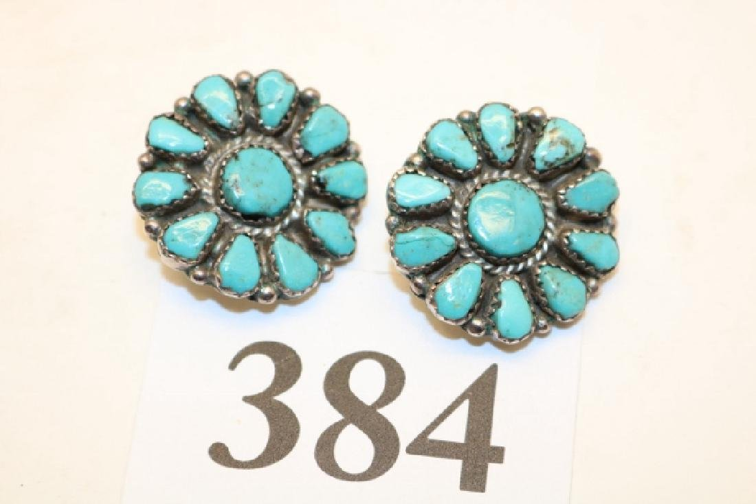 Pair of Sun Burst Turquoise Earrings
