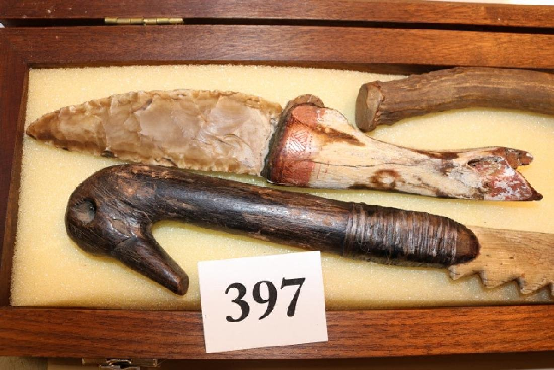 3 Carved Bone and Wood Knives - 3