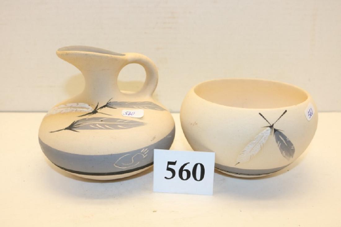 2 Pottery Items: Pitcher – Bowl