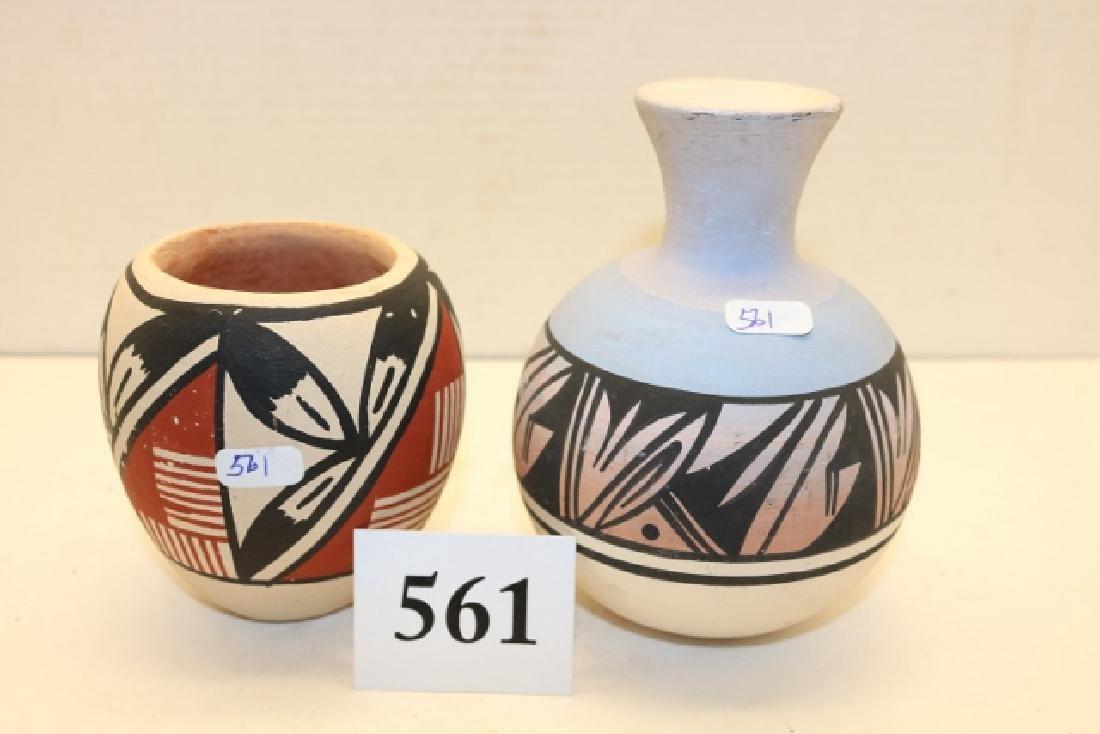 2 Pottery Items: Mesa Verde Bottle