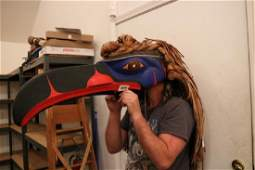 Northwest Coast Polychrome Raven Mask