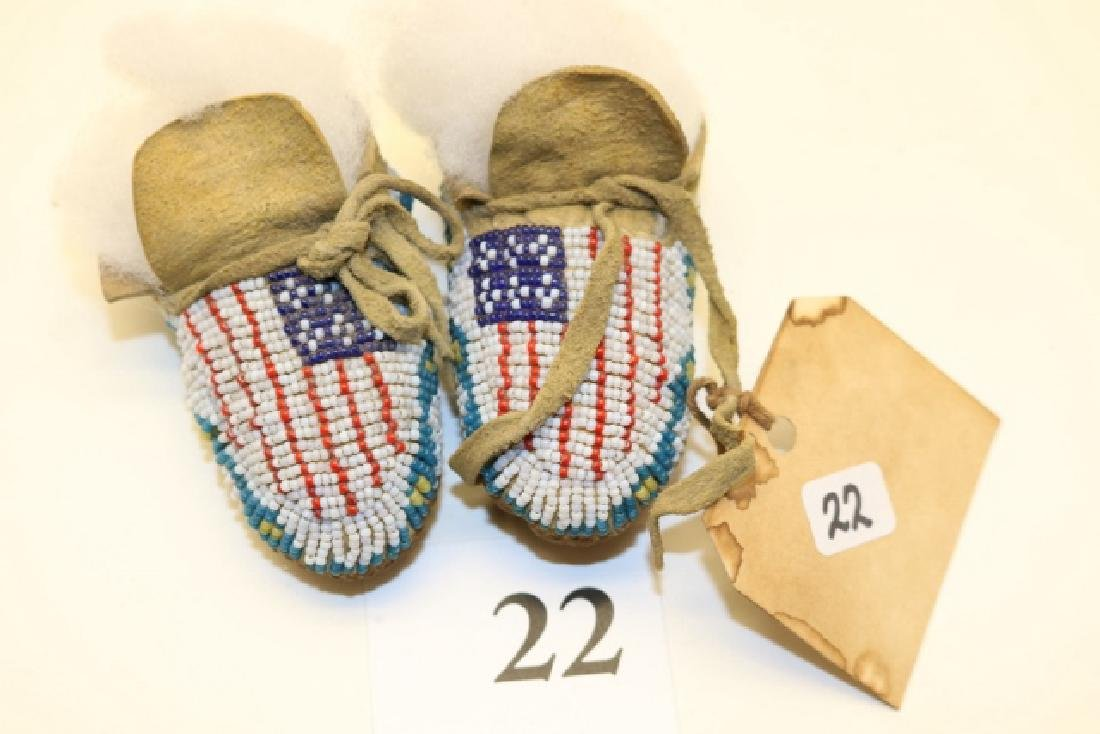 Patriotic Baby's Moccasins with Flag