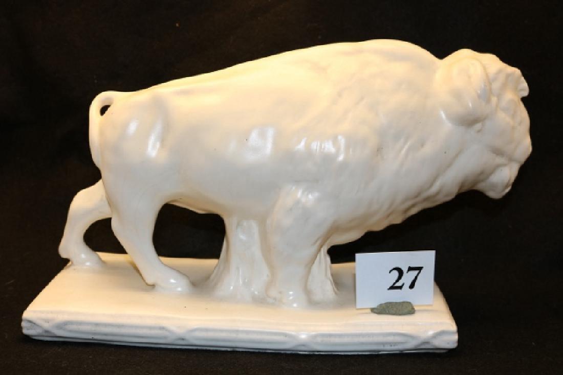Glazed White Ceramic Buffalo