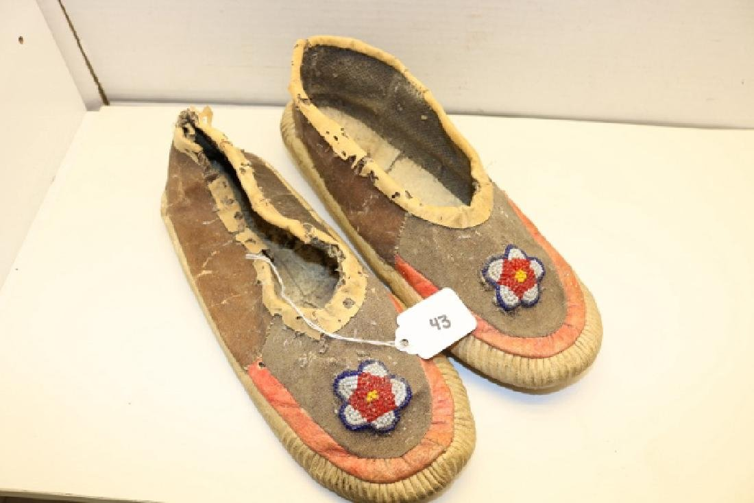 Pair Bead Decorated Moccasins
