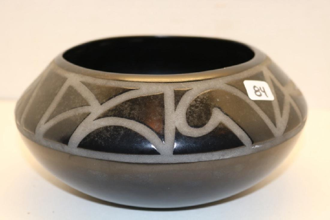 Carved Black on Black Olla